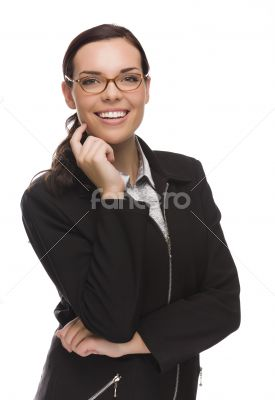 Confident Mixed Race Businesswoman Isolated on White