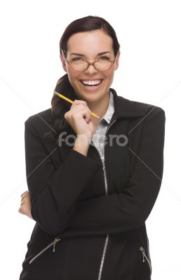 Confident Mixed Race Businesswoman Holding a Pencil