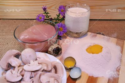 Products For Preparing Pancake With Chicken And Mushrooms