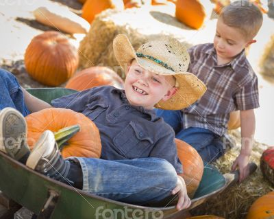 Two Little Boys Playing in Wheelbarrow at the Pumpkin Patch