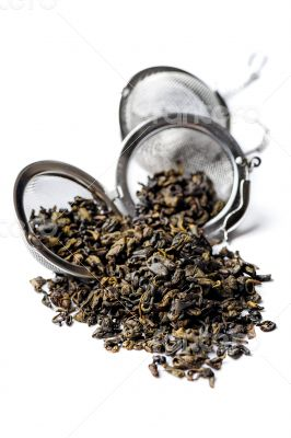 Green Gunpowder tea on white background