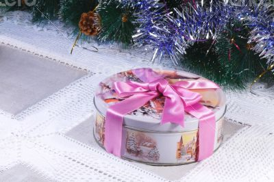 New year`s or Christmas gift in a nice box with the image of win