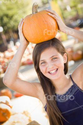 Preteen Girl Portrait at the Pumpkin Patch
