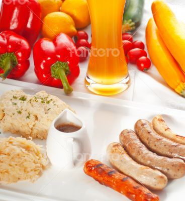 selection of all main type of german wurstel saussages