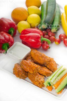 buffalo chicken wings served with pinzimonio