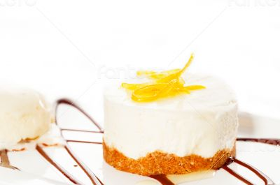 lemon mousse served whith lemon peel on top