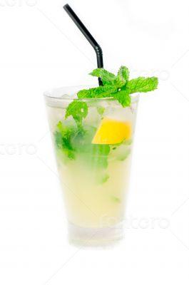 mojito caipirina cocktail with fresh mint leaves