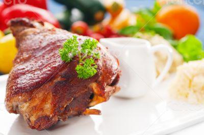 original German BBQ pork  knuckle