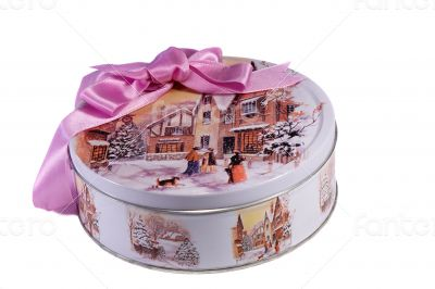Gift: a beautiful box with the image of winter, decorated with a