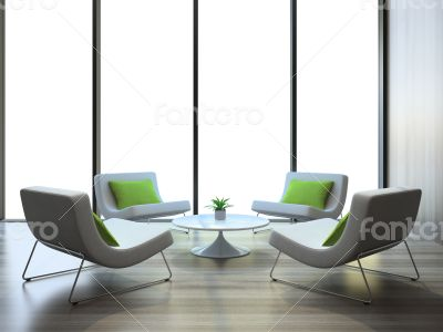 Modern interior with four armchairs and coffe table