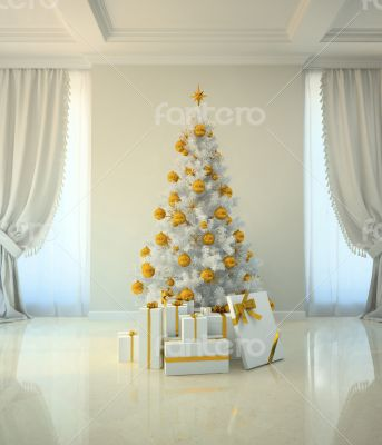 Christmas tree room in classic style