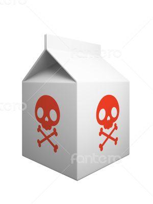Dangerous milk box isolaned on white background