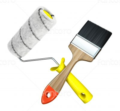 Paint roller and brush isolated on white background