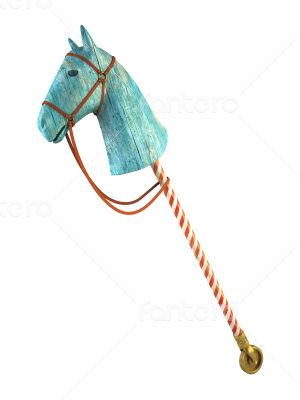 Blue wood horse on stick isolated on white background (symbol of