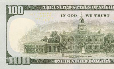Back Left Half of the New One Hundred Dollar Bill