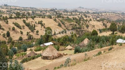 Village huts on the hills
