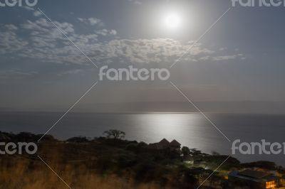 Lake langano lit by the moon