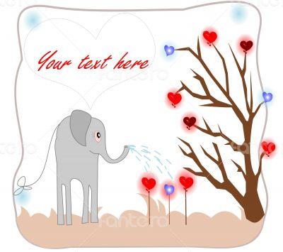 Cute elephant watering seedlings with hearts of love card