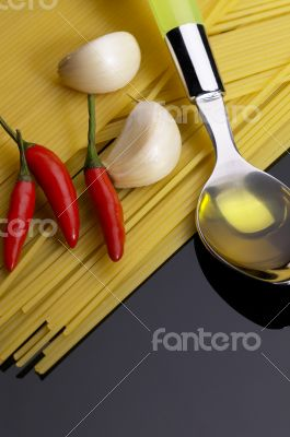 pasta garlic extra virgin olive oil and red chili pepper
