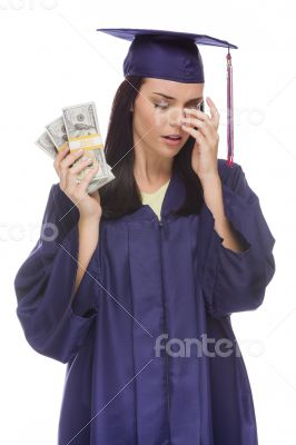 Stressed Female Graduate Holding Stacks of Hundred Dollar Bills