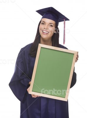 Mixed Race Female Graduate in Cap and Gown Holding Chalkboard