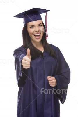 Mixed Race Graduate in Cap and Gown with Thumbs Up
