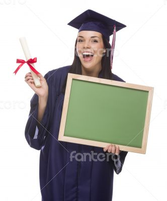 Female Graduate in Cap and Gown Holding Diploma,Blank Chalkboar