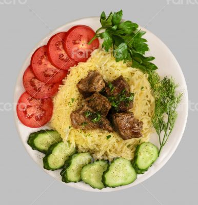 Vermicelli with stew meat and vegetables
