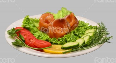 Rolls of red fish fillet with vegetables