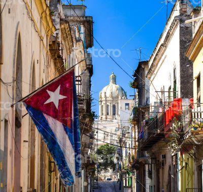 Caribbean Cuba Havana with national flag