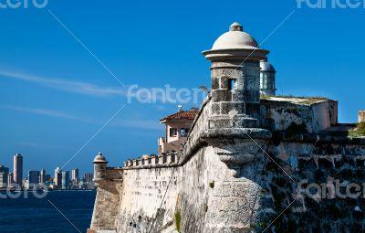 Caribbean Cuba fortress with skyline from Havana