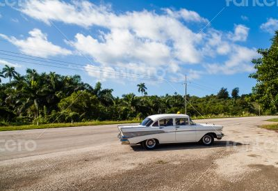Caribbean Cuba Cuban taxi at a rest area