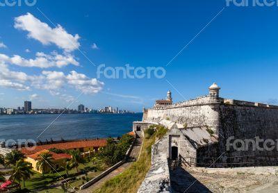 Caribbean Cuba Havana fortress view with skyline