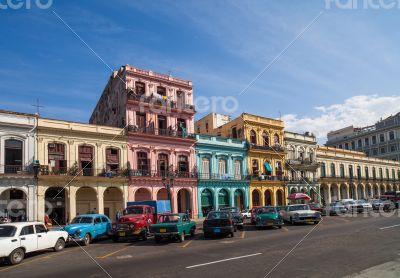 Caribbean Cuba Havana building on the main street