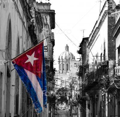 Cuba Havana Capitol view with flag