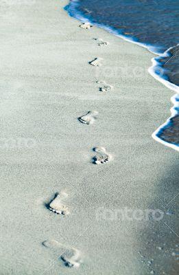 Footprints on a Caribbean beach