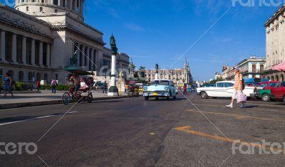 Cuba Havana Main street with Capitol view