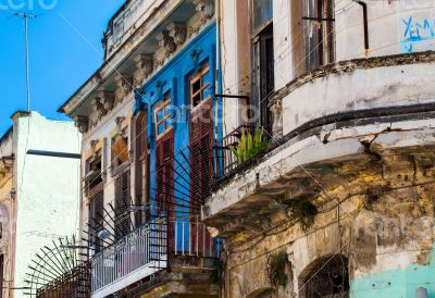Caribbean Cuba Havana building facades