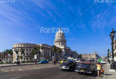 Cuba Havana Main street with Capitol