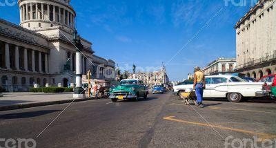 Caribbean Cuba Havana Street view and the capitol