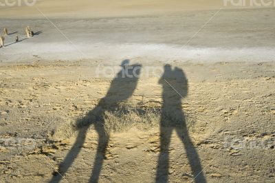 Shadows of two travellers