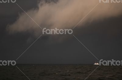 Fisherboat in storm