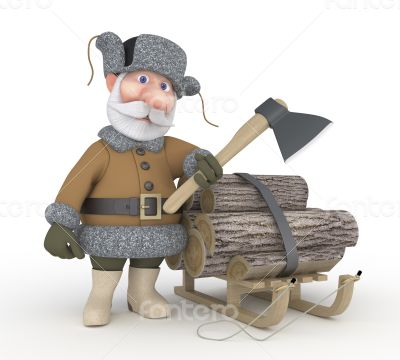 The grandfather with a sledge.