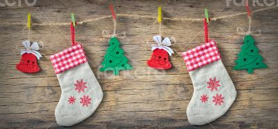 Christmas Decoration Over Wooden Background