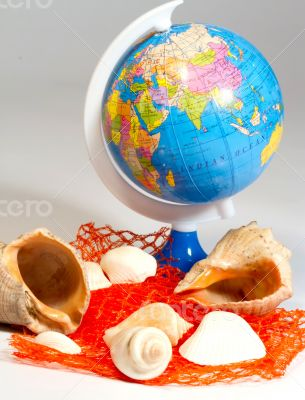 Seashells and small globe on a book with a geographical map.