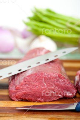 raw beef and pork ribs