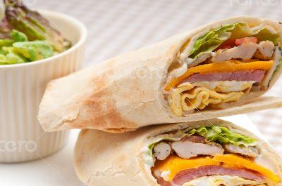 club sandwich pita bread roll