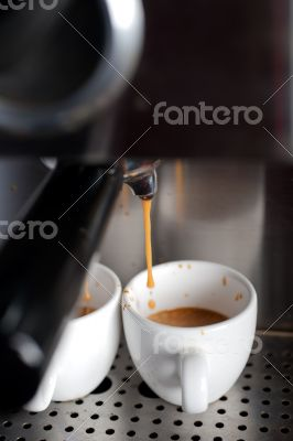 espresso coffe making with professional machine