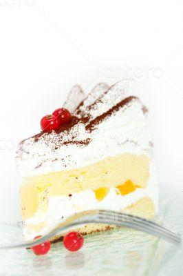whipped cream and ribes dessert cake slice