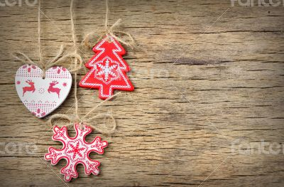 rustic christmas decoration on old wood background